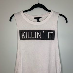 Forever 21 Killin' It Muscle Tank Size Small White